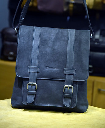 """JIMMY"" Leather Satchel, 'Black' Tumbled Leather"
