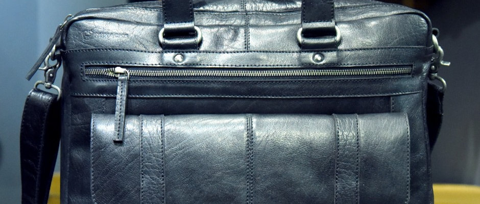"""DENVER"" Leather Briefcase, 'BLACK' Full Grain Buffalo Leather"