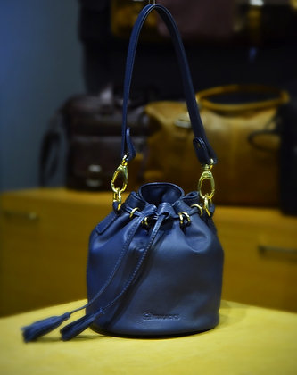 """EMILY""Ladies Bucket Bag, 'Navy Blue' Natural Milled Leather"