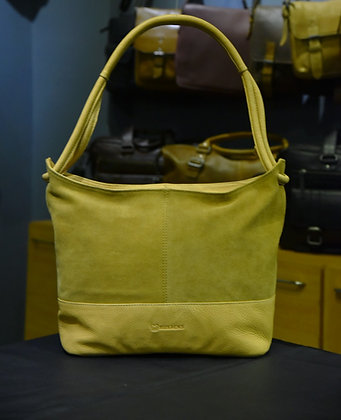 """PARALLEL"" Ladies Hobo,'Beige Hand Milled & Beige Suede Leather"