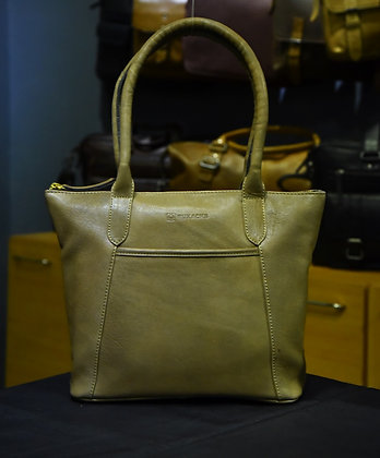 """ISLA"" Ladies Leather Handbag, ""Olive"" Natural Milled Leather"