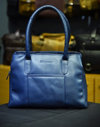 """ELLA"" Ladies Leather Handbag, 'Navy Blue' Natural Milled Leather"