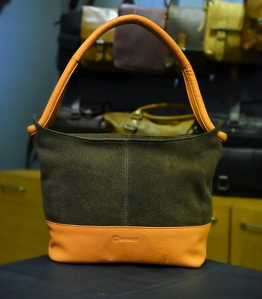 """PARALLEL"" Ladies Hobo,'Peach NDM & Brown Suede Leather"