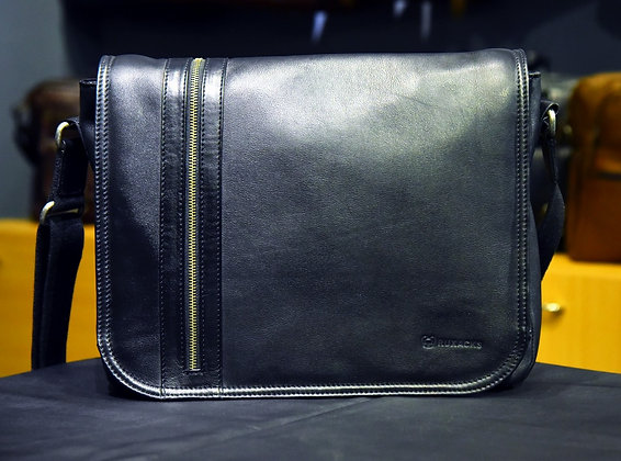 """ARGON"" Leather Satchel, 'BLACK' Natural Milled Leather"
