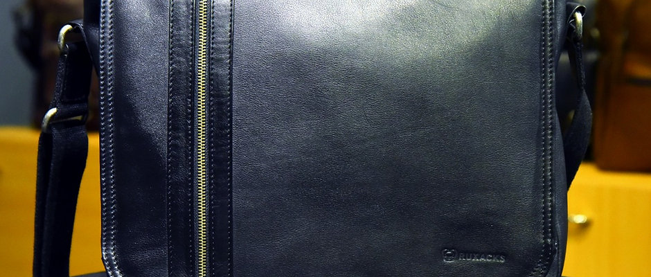 """ARGON"" Leather Satchel, 'BLACK' Natural Milled Leather"