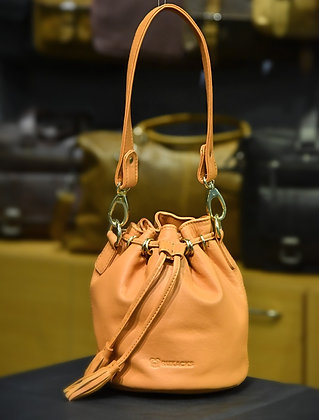 """EMILY"" Ladies Bucket Bag, 'Peach Delight' Natural Milled Leather"