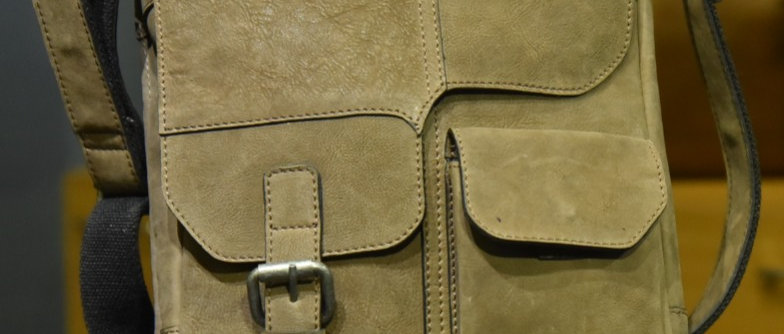 """ENCORE"" Leather Satchel,  Olive Tumbled Leather"