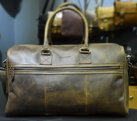 """ROOSEVELT"" Leather Holdall, 'DARK BROWN"" Crazy Oil Pull Up Leather"