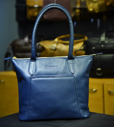 """ISLA"" Ladies Leather Handbag, ""Navy Blue"" Natural Milled Leather"