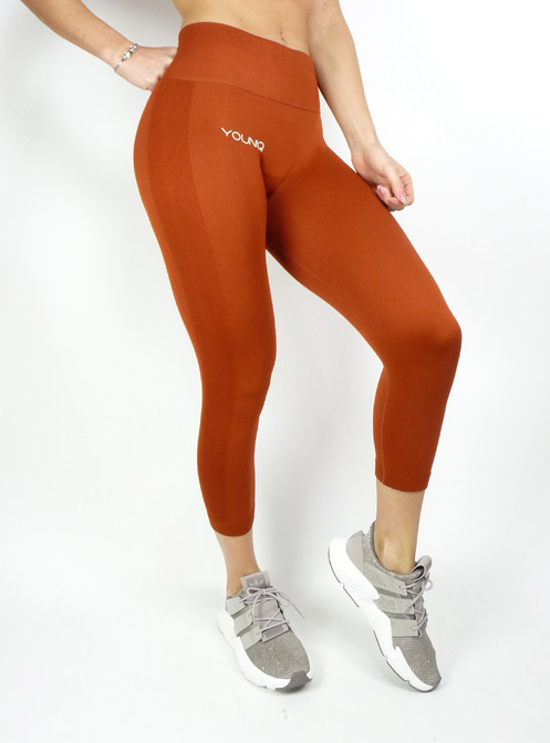 Capri Sportlegging.Capri Sportlegging Dames High Waist Oranje
