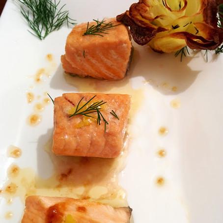 Bocconcini di salmone con salsa senape/miele