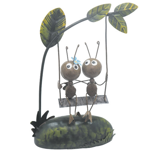 Ant Couple On Swing Metal Garden Ornament