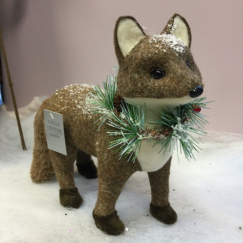 Plush Brown and White Fox Ornament