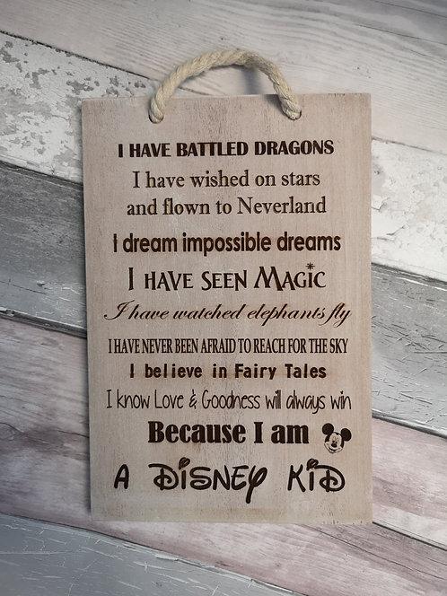 A Disney Kid White Washed Hardwood Sign