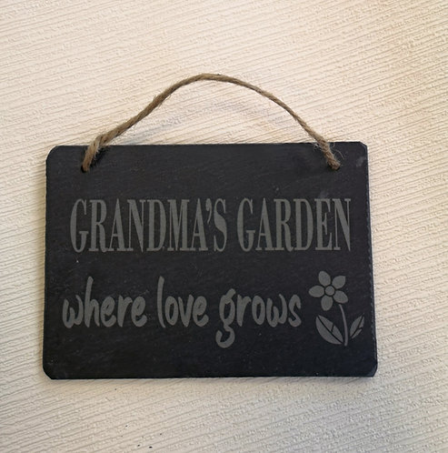 Grandma's Garden Slate Hanging Sign