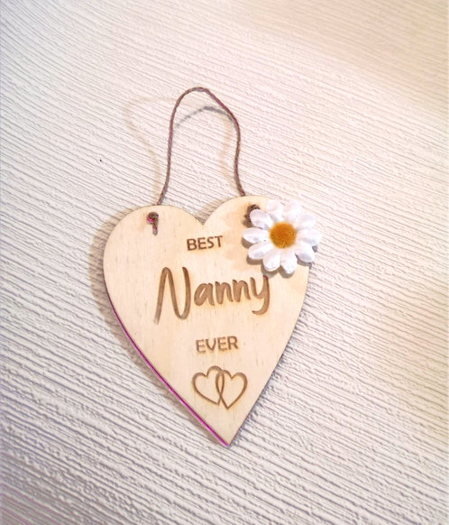 Best Nanny Ever Wooden Hanging Heart