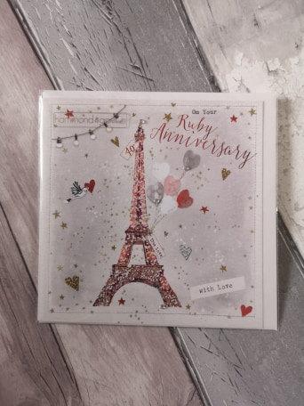 Ruby Anniversary - Paris Card