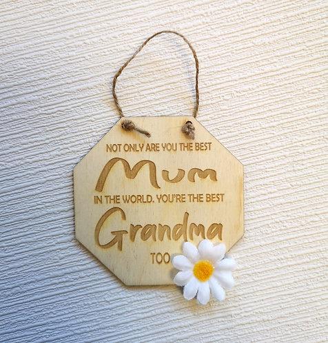 Best Grandma Too Wooden Hanging Sign