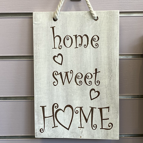 Home Sweet Home White Washed Hardwood Hanging Sign