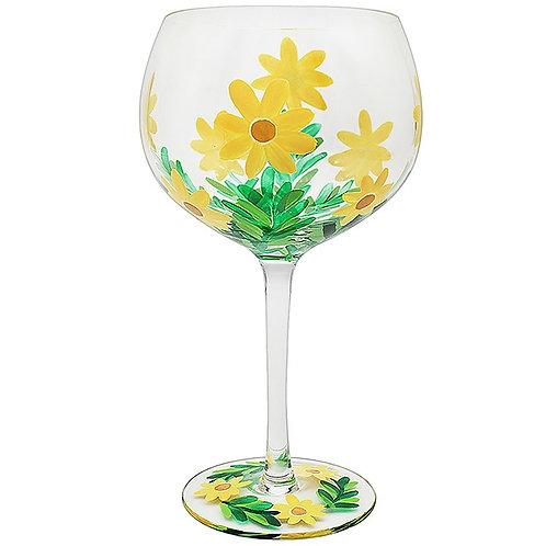Handpainted Yellow Daisy Gin Glass