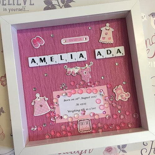'Baby' Custom Scrabble Box Frame