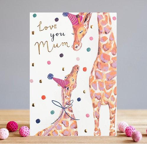 Love You Mum Giraffe Card