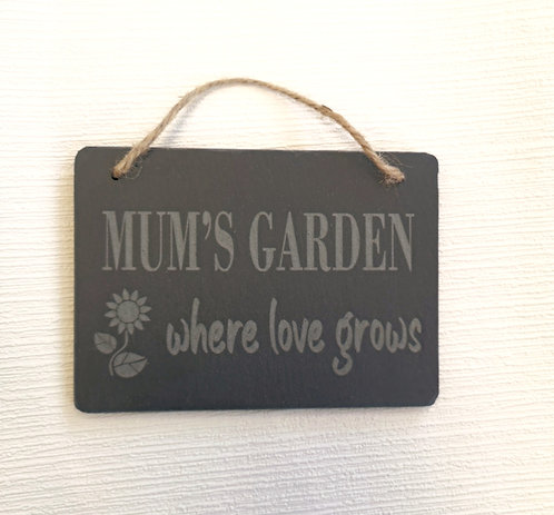 Mum's Garden Slate Hanging Sign