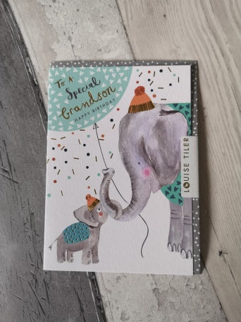 Special Grandson Elephants Birthday Card