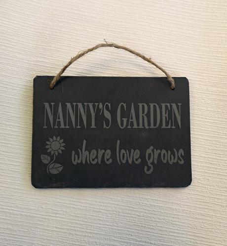 Nanny's Garden Slate Hanging Sign