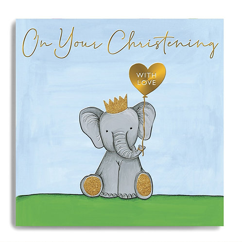 On Your Christening - Elephant Blue Card