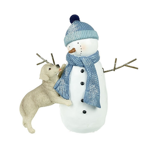 Snowman with Dog Ornament