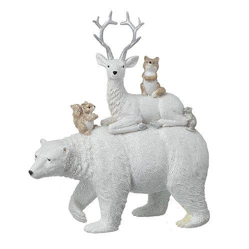 Polar Bear with Animals Ornament