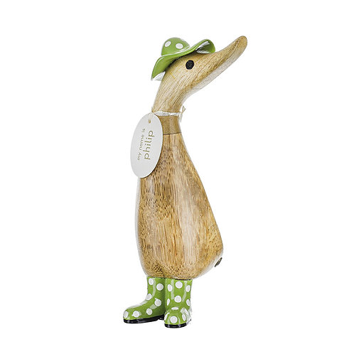 DCUK Natural Finish Duckling in Green Spot Hat and Wellies
