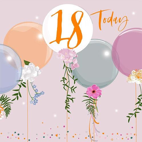18th Birthday Card - Balloon Design