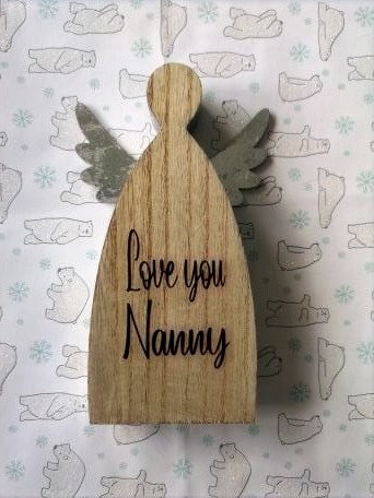Personalised Wooden Angel with Silver Wings