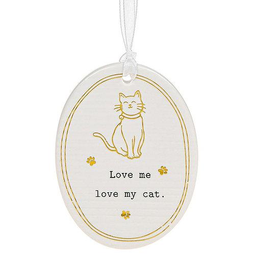Love My Cat Ceramic Hanging Oval