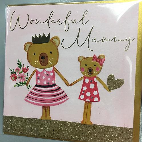 Wonderful Mummy - Mummy & Daughter Bear Card