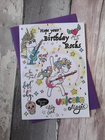 Unicorn Rocks Birthday Card