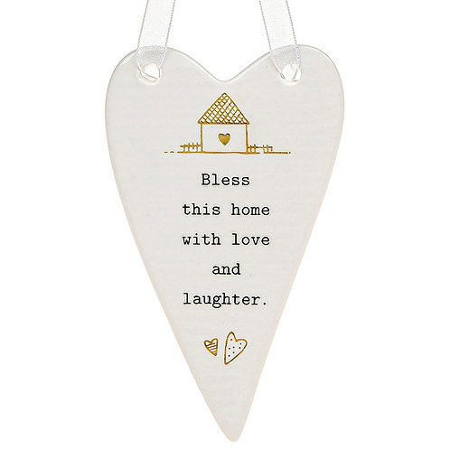 Bless This Home Ceramic Hanging Heart
