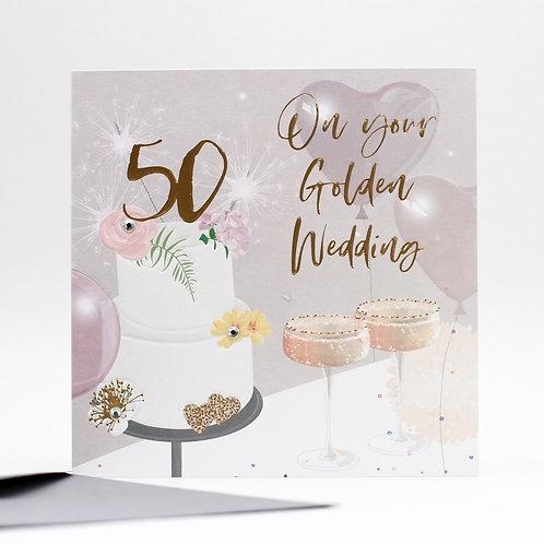 50th Golden Anniversary Card - Cake Design