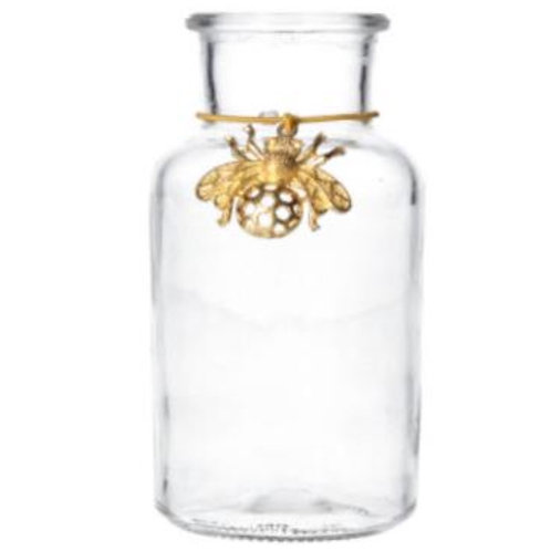 Glass Mini Vase Bottle With Bee Charm