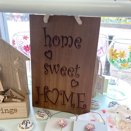 Home Sweet Home Hardwood Hanging Sign