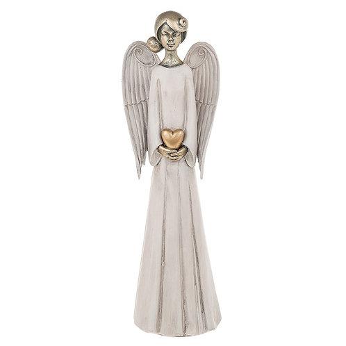 Serene Standing Angel Holding Heart