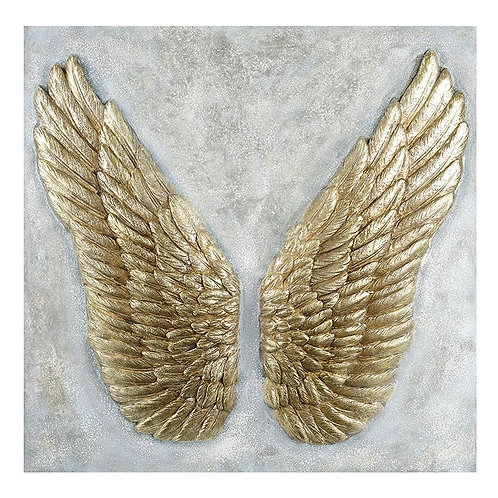 Large Resin Plaque with Angel Wings