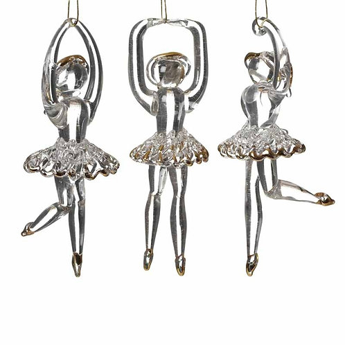Hanging Glass Gold Ballerina Decoration