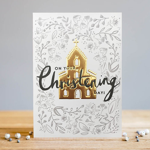 Christening Card - Gold Church Design