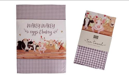 Wakey Wakey Farm Tea Towel