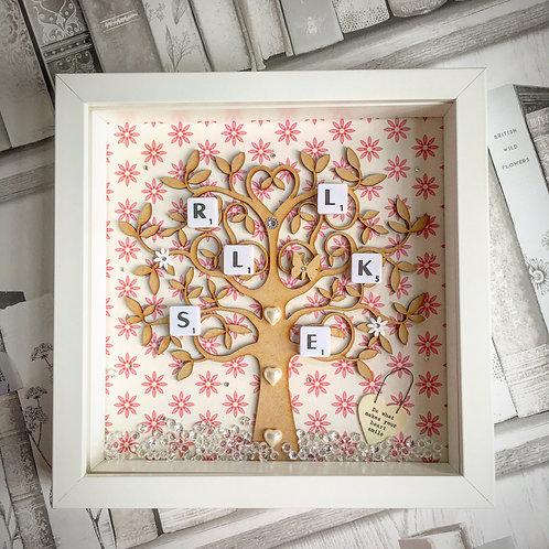 'Family Tree' Custom Scrabble Box Frame