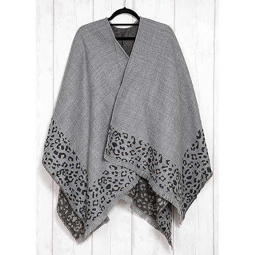 Grey Leopard Print Wrap