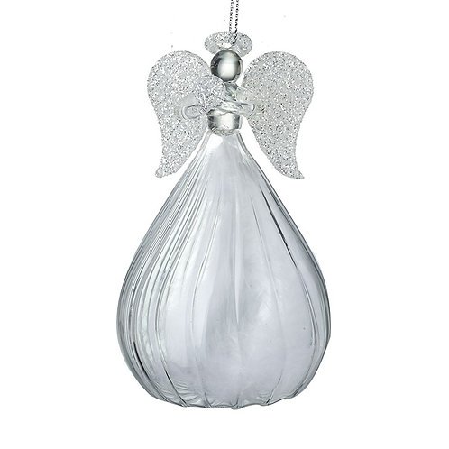 Large Glass Angel Hanging Decoration with Opaque Skirt